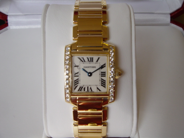 18ct Gold ladies Diamond set Tank Francais
