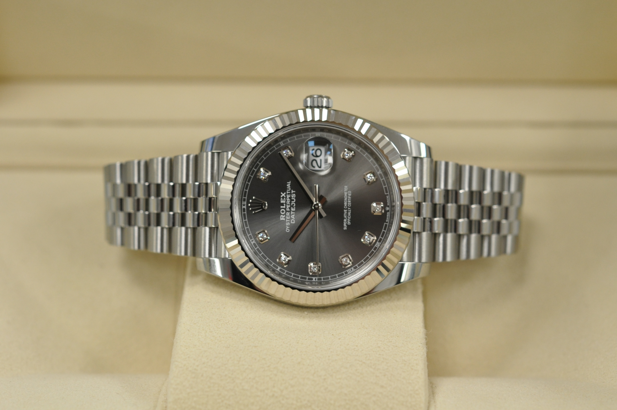 New 2020 Datejust 41 Rhodium Diamond Dial